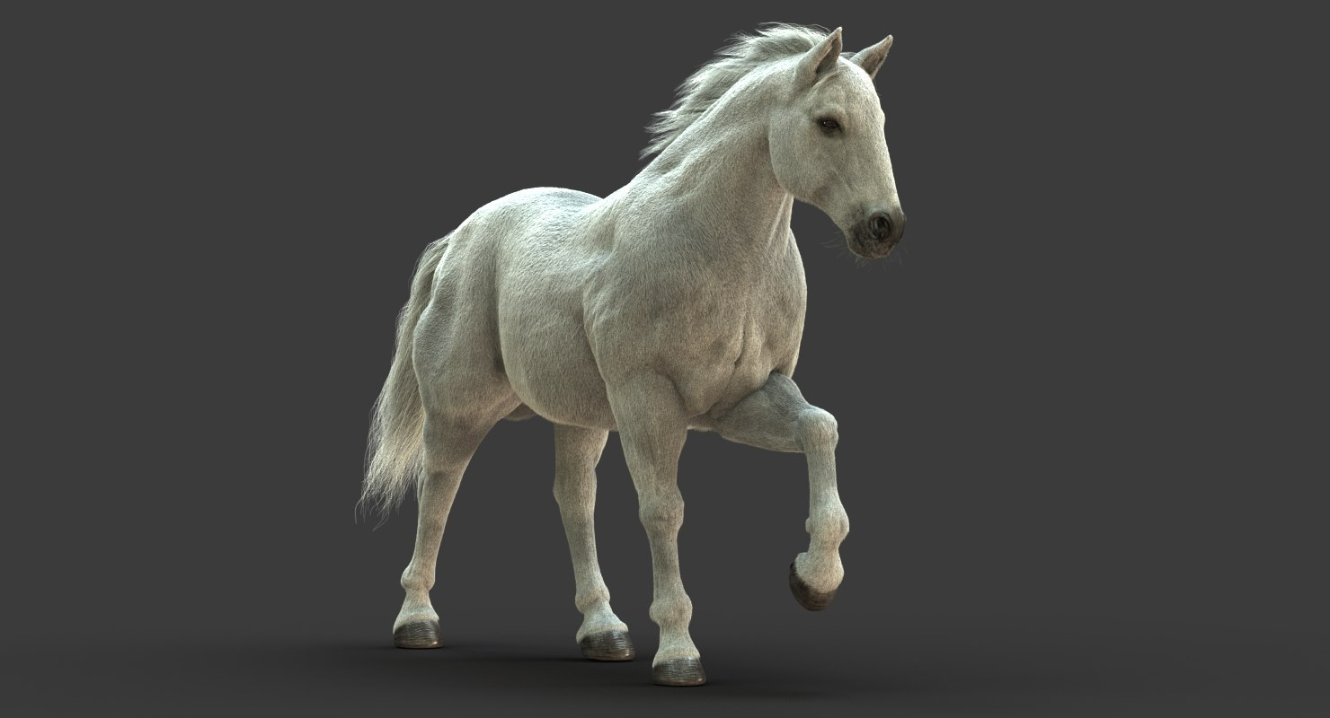 Horse (White) (FUR) (ANIMATED)